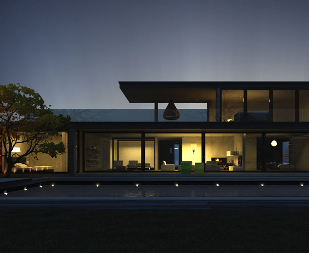 Contemporary Villa 3d exterior night visualisation