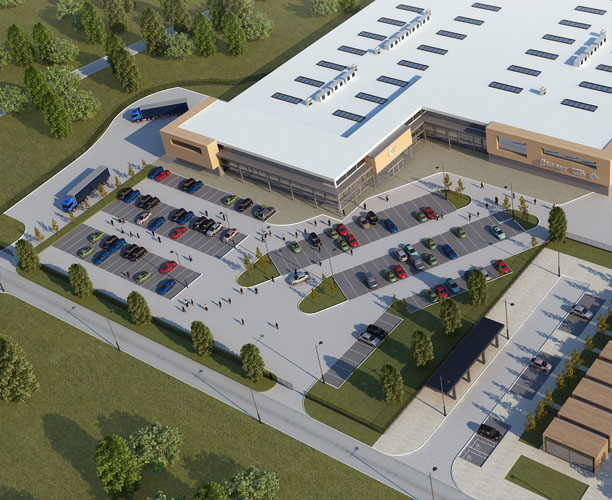 Retail Park 3d exterior visualisation