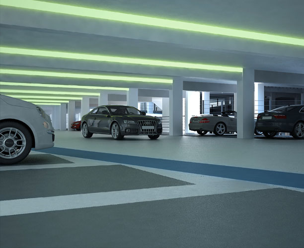 Carpark architectural visualisation interior view