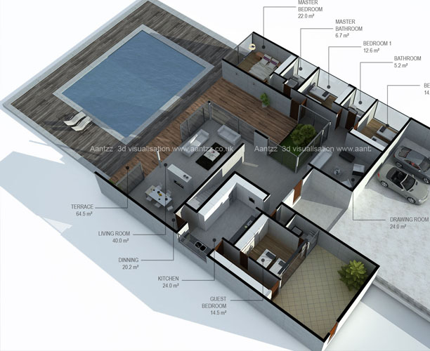 st 3d Floor plan for Milan house