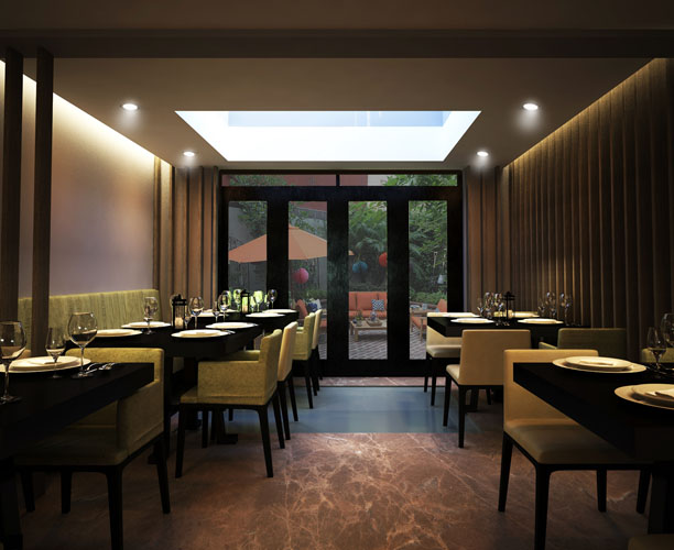 3d render Ground floor restaurant, London ,UK